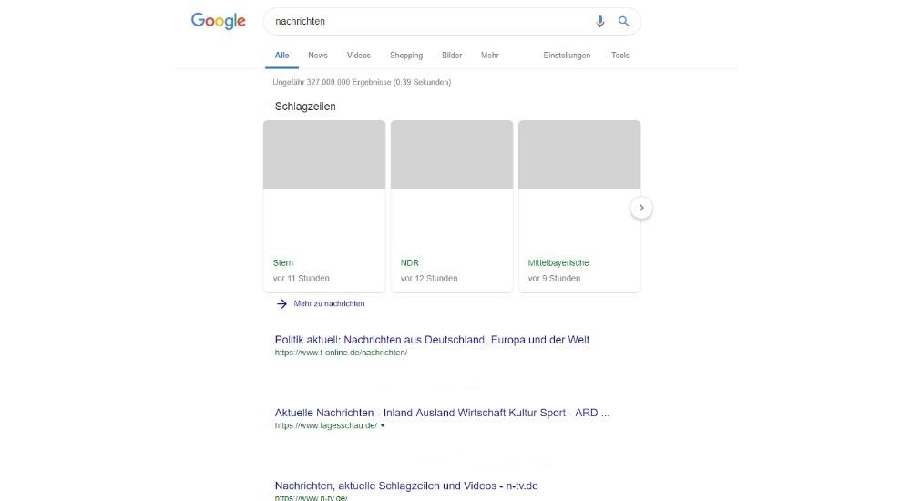 Dank Artikel 11: Googles Darstellung von Nachrichten könnte bald so aussehen