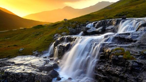 Heljardalsa waterfall in Saksunardalur valley near Saksun Streymoy Faroe Islands Faroes Denmark Europe