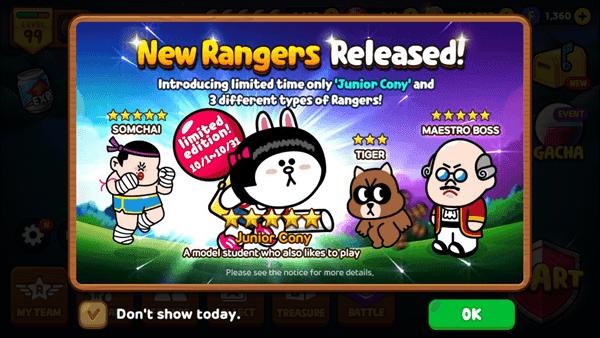 ข้อมูลเรนเจอร์เซ็ตใหม่ของ LINE Rangers ประจำเดือนตุลาคม