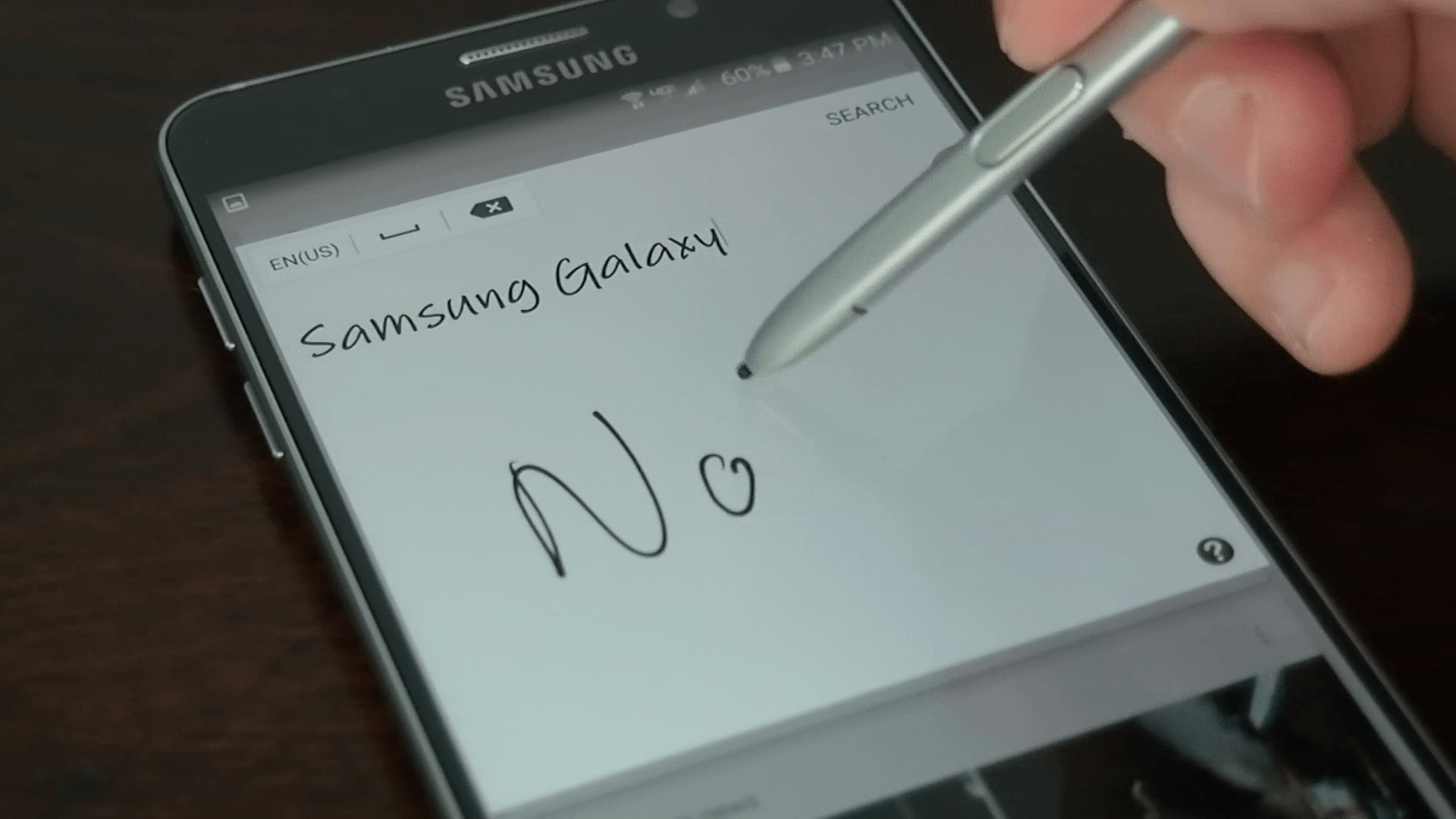 Note 5 writing