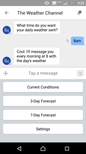 Chatting with The Weather Channel bot on Kik