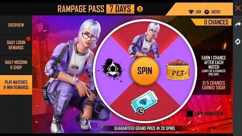 Rampage Pass  matches