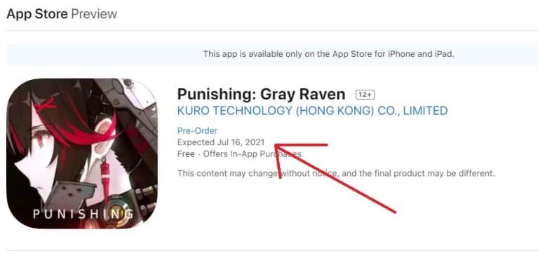 Punishing Gray Raven Appstore launch date