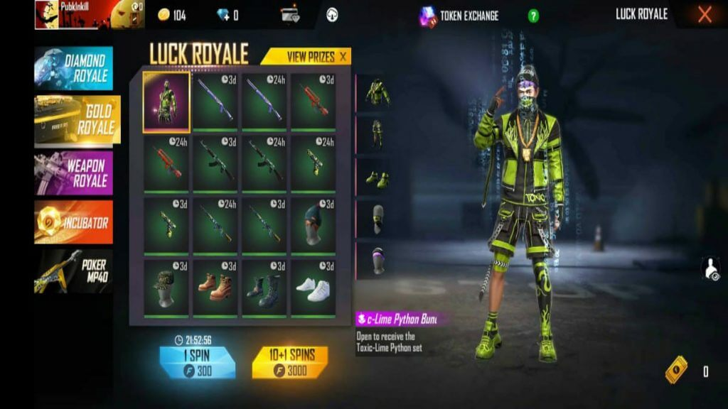Gold Royale Free Bundles In Free Fire