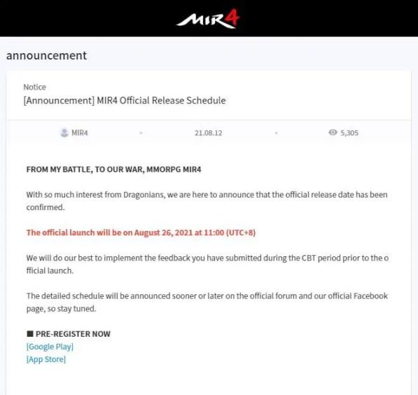 MIR4 release announcement