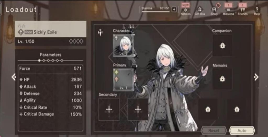 NieR Re[in]carnation Level Up
