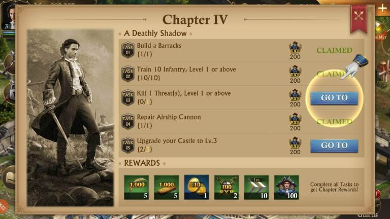 Completing quests in Guns of Glory.