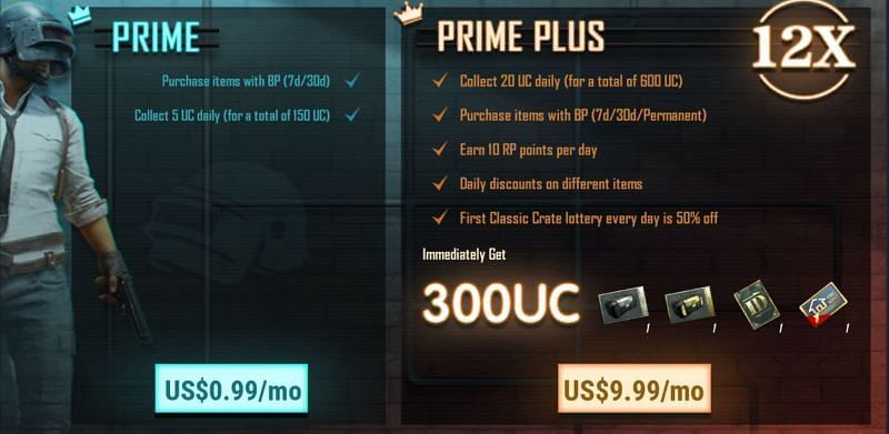 BGMI Prime Subscription plans in PUBGM.