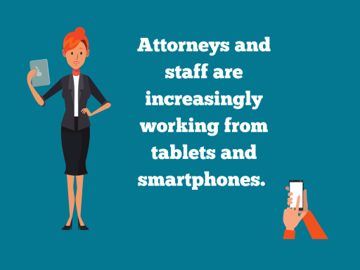 Woman attorney holding tablet