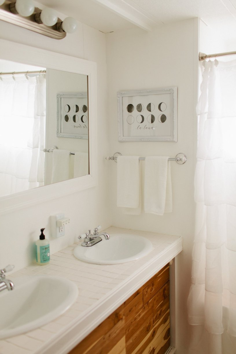 Modern White Bathroom In Mobile Home