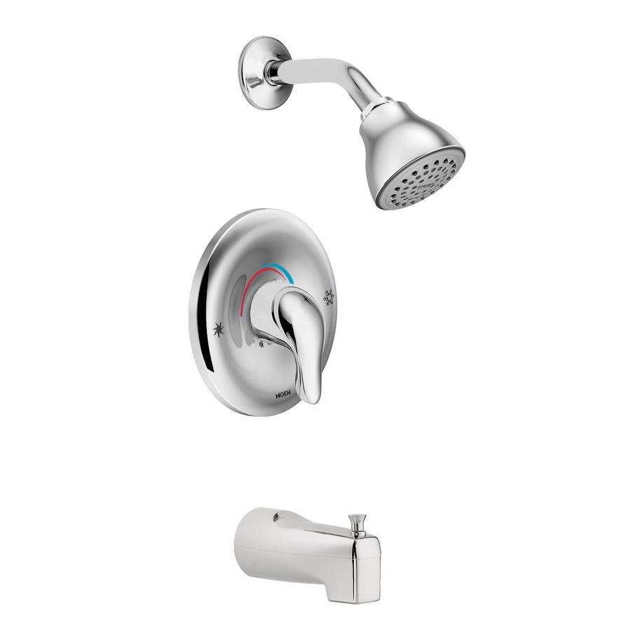 moen chateau chrome 1 handle bathtub and shower faucet with valve in the shower faucets department at lowes com