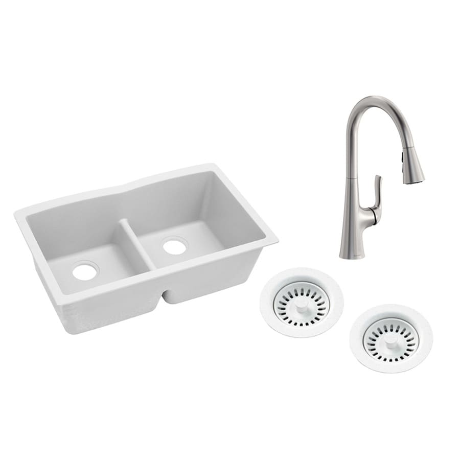 elkay quartz classic undermount 33 in x 19 in white double equal bowl kitchen sink all in one kit in the kitchen sinks department at lowes com