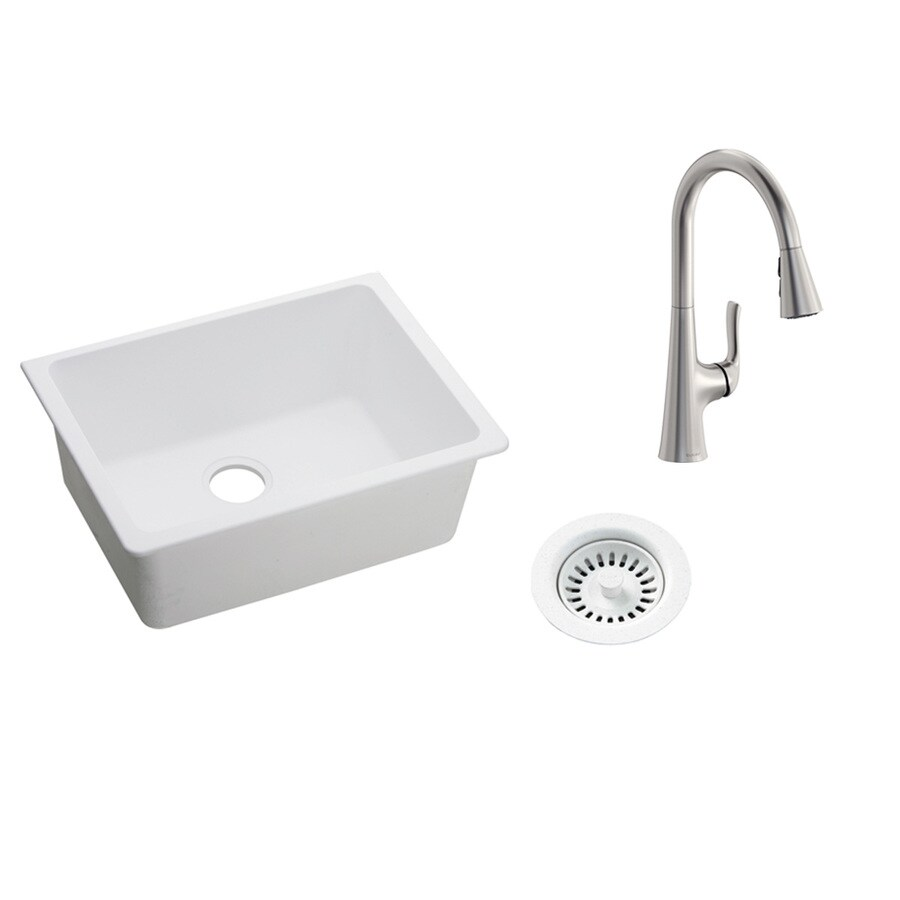 elkay quartz classic undermount 24 625 in x 18 5 in white single bowl kitchen sink all in one kit in the kitchen sinks department at lowes com