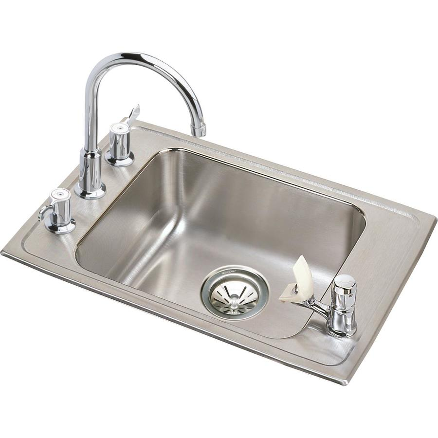elkay lusterstone drop in 22 in x 19 5 in lustrous satin single bowl 4 hole kitchen sink all in one kit in the kitchen sinks department at lowes com