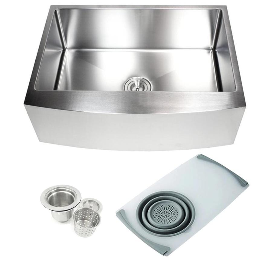emoderndecor ariel farmhouse apron front 30 in x 21 in stainless steel single bowl kitchen sink in the kitchen sinks department at lowes com