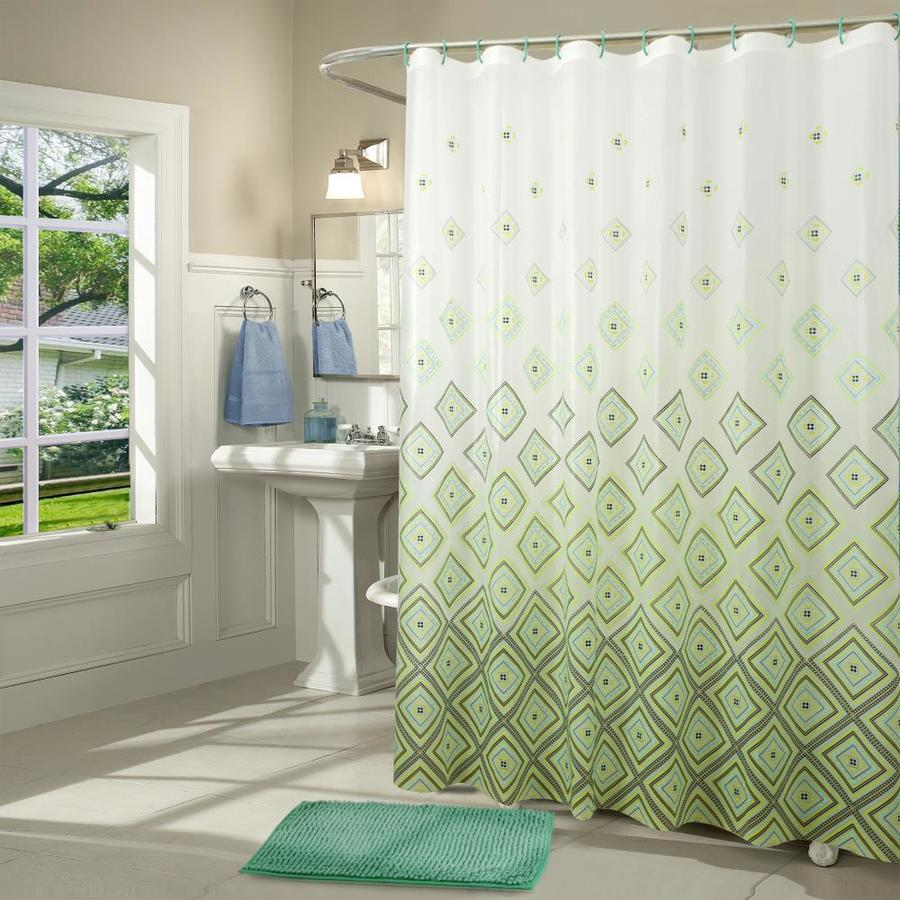 rt designers collection 71 in eva peva white green teal black patterneded shower curtain in the shower curtains liners department at lowes com