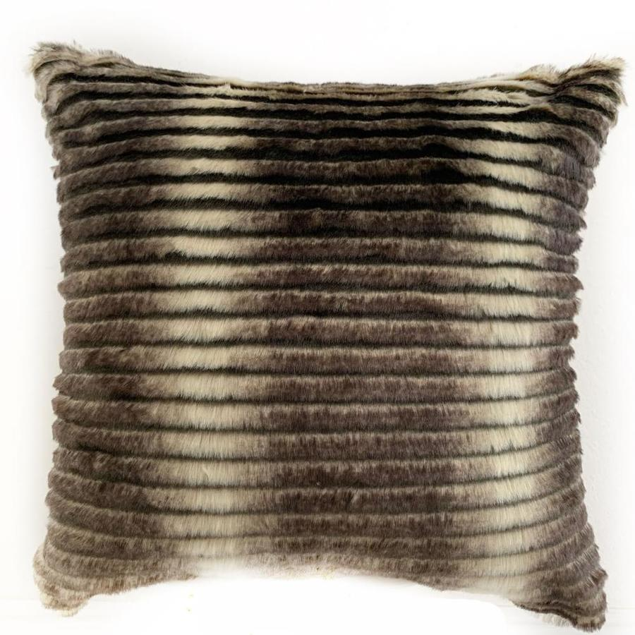 plutus brands grey taupe 16 in x 16 in grey taupe 100 acrylic square indoor decorative pillow in the throw pillows department at lowes com