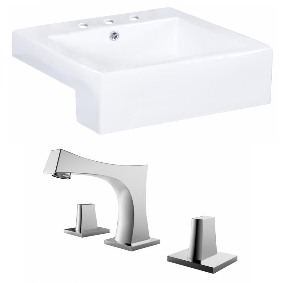 american imaginations xena farmhouse white ceramic drop in or undermount rectangular bathroom sink with faucet and overflow drain 19 in x 20 25 in in the bathroom sinks department at lowes com