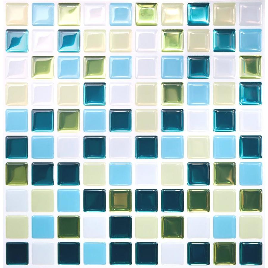 tic tac tiles square 5 pack blue green white 10 in x 10 in glossy pvc uniform squares patterned peel and stick wall tile in the tile department at lowes com