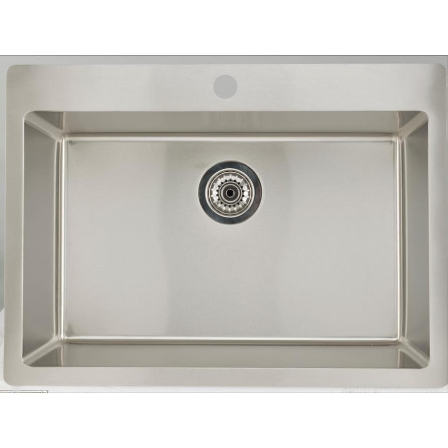 american imaginations 25 in x 22 in 1 basin stainless steel self rimming laundry sink with drain and faucet in the utility sinks department at lowes com
