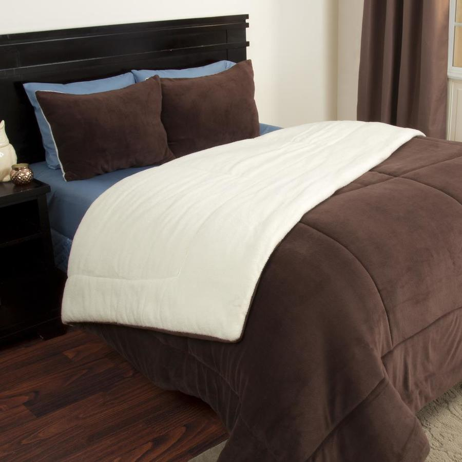 hastings home hastings home 3 piece sherpa fleece comforter set full queen chocolate in the comforters bedspreads department at lowes com