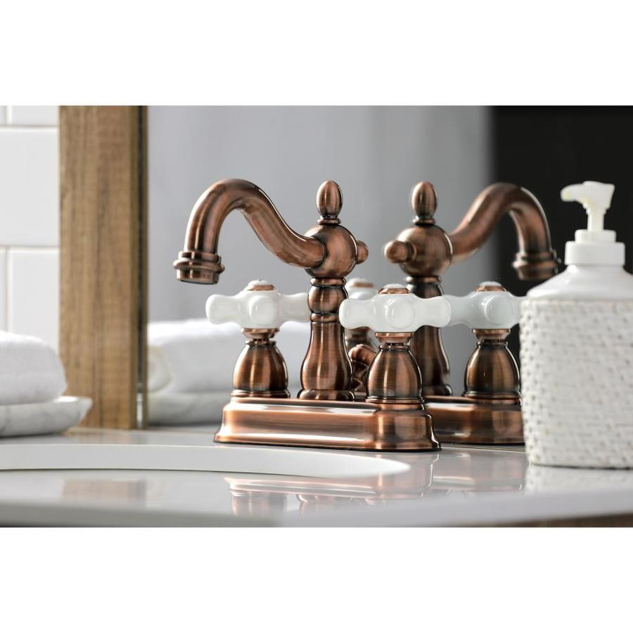 kingston brass heritage antique copper 2 handle 4 in centerset bathroom sink faucet with drain in the bathroom sink faucets department at lowes com