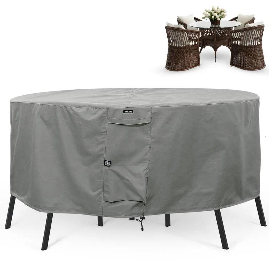 khomo gear titan gray premium polyester patio furniture cover in the patio furniture covers department at lowes com