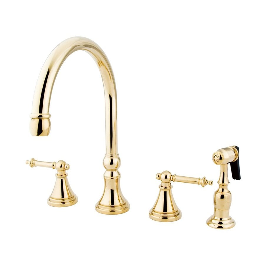 elements of design templeton polished brass 2 handle deck mount high arc handle kitchen faucet in the kitchen faucets department at lowes com
