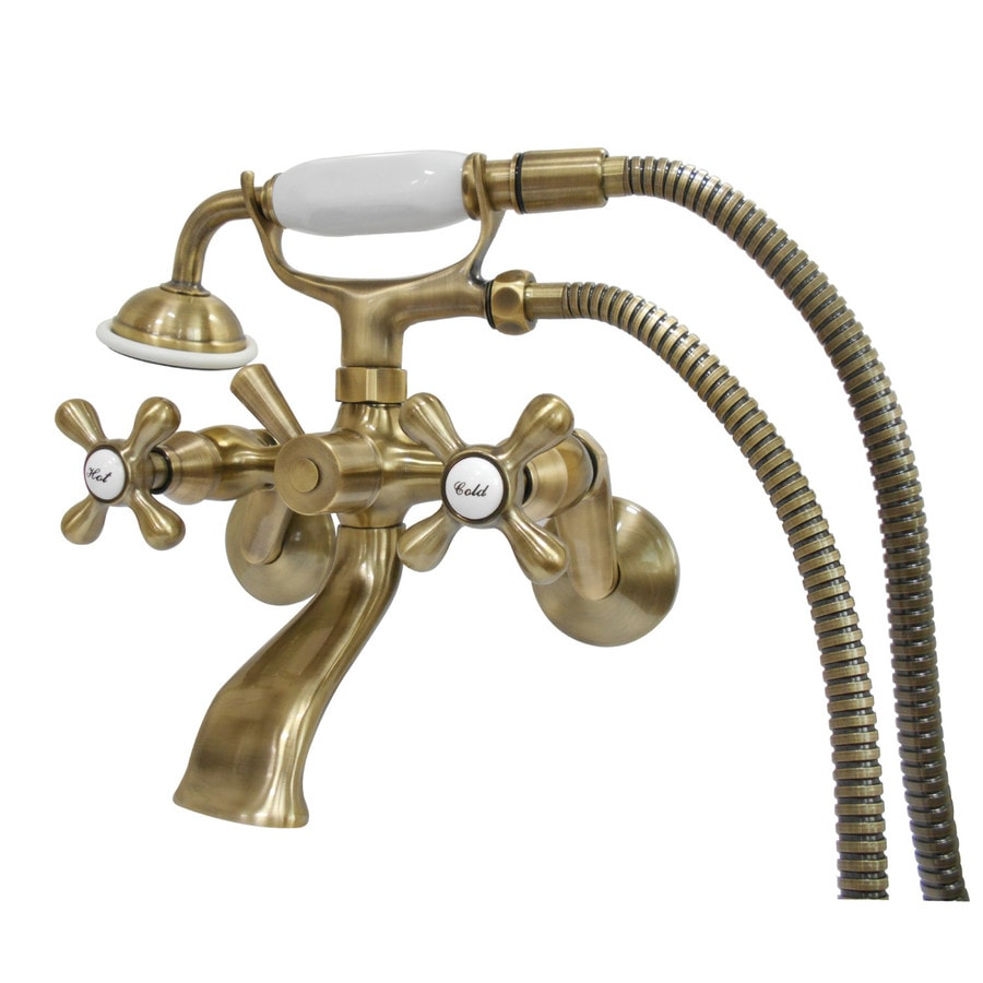 kingston brass vintage antique brass 2 handle residential wall mount bathtub faucet with hand shower in the bathtub faucets department at lowes com