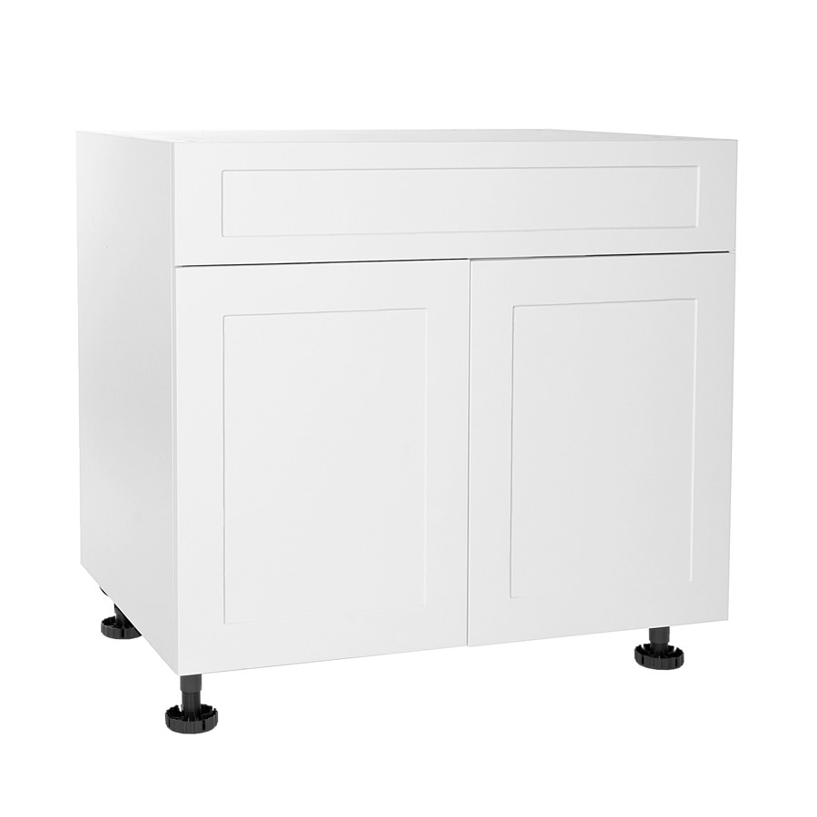 cambridge 36 in w x 34 5 in h x 24 in d shaker white wood engineered wood sink base stock cabinet in the stock kitchen cabinets department at lowes com