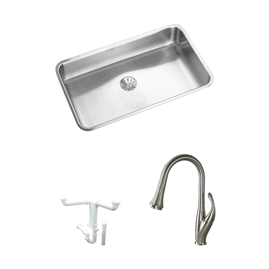elkay gourmet lustertone undermount 30 5 in x 18 5 in lustrous highlighted satin single bowl kitchen sink all in one kit in the kitchen sinks department at lowes com