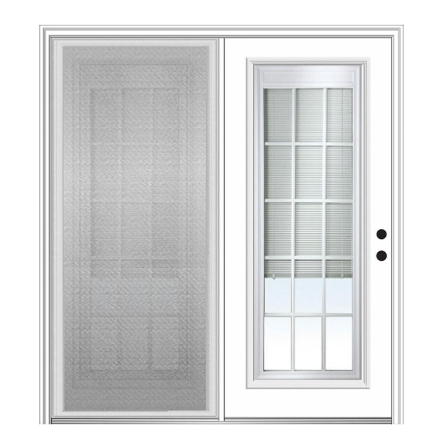 mmi door internal mini blinds 64 in x 80 in blinds between the glass fiberglass left hand inswing double door center hinged patio door with screen in the patio doors department at lowes com