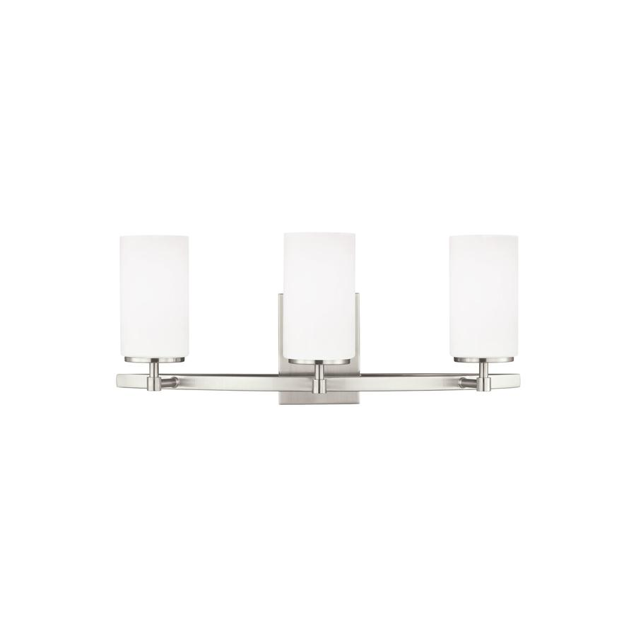 triumph 3 light nickel transitional vanity light in the vanity lights department at lowes com
