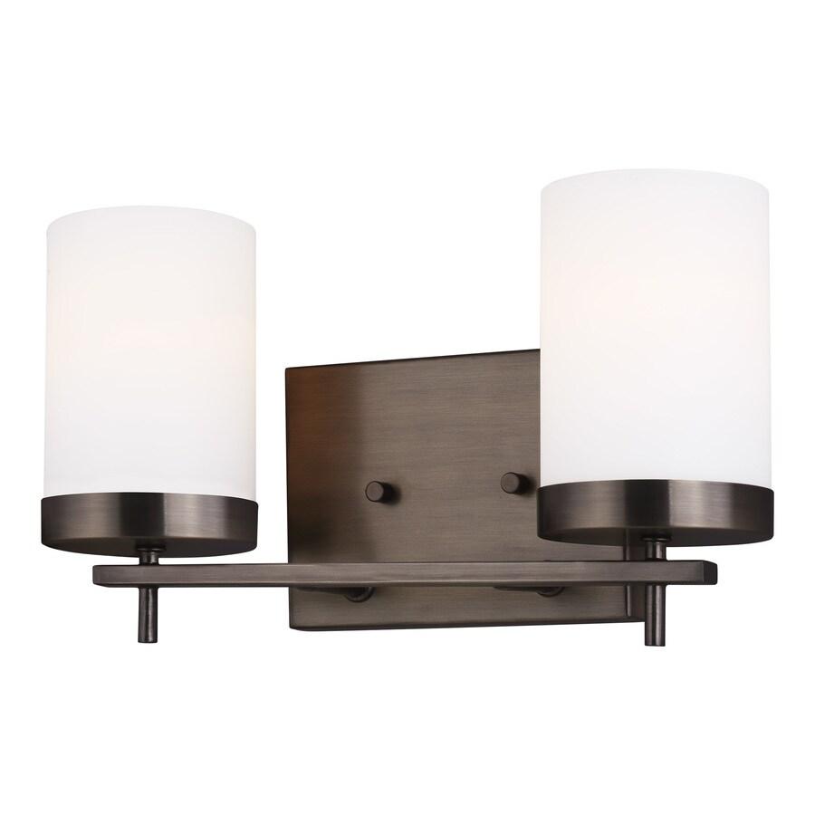 sea gull lighting 14 2 light bronze modern contemporary vanity light in the vanity lights department at lowes com