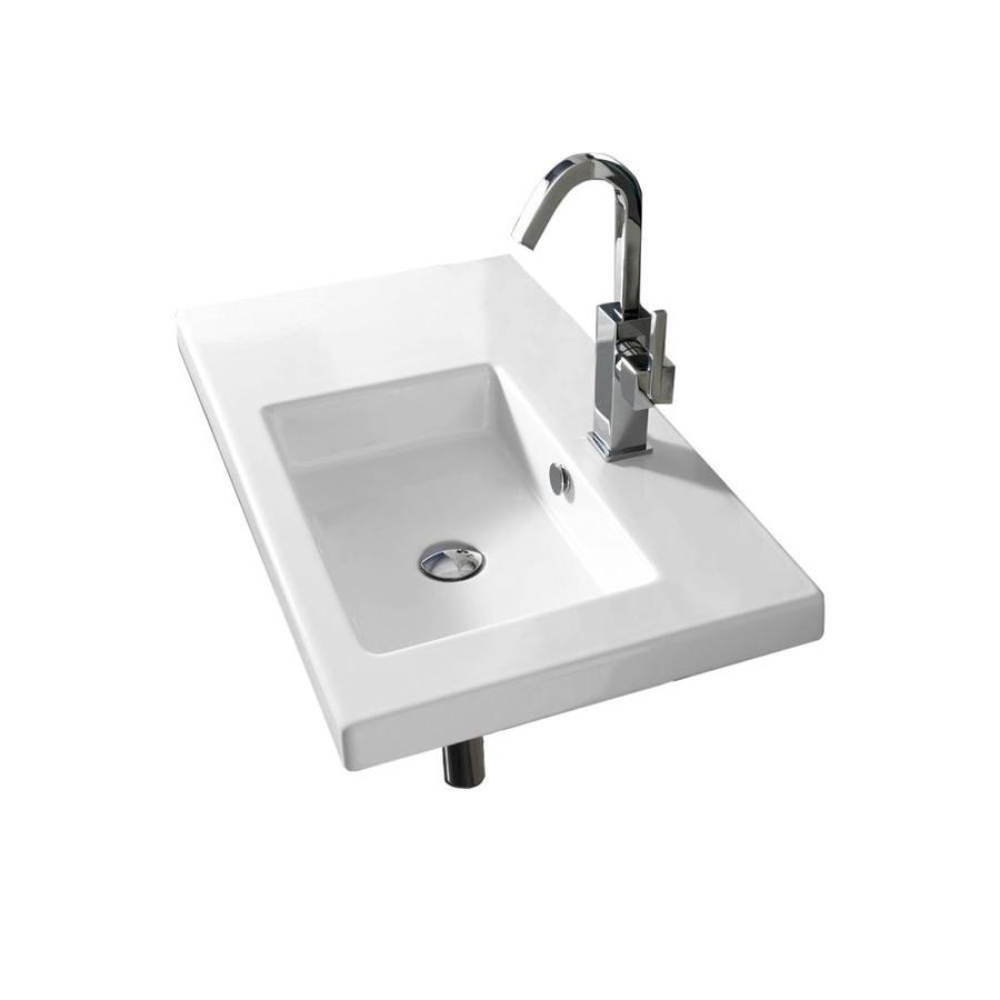 nameeks condal white ceramic wall mount square bathroom sink with overflow drain 31 5 in x 17 72 in in the bathroom sinks department at lowes com
