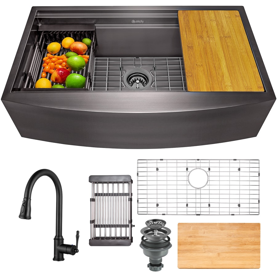 akdy farmhouse apron front 33 in x 20 in matte black single bowl workstation kitchen sink all in one kit in the kitchen sinks department at lowes com