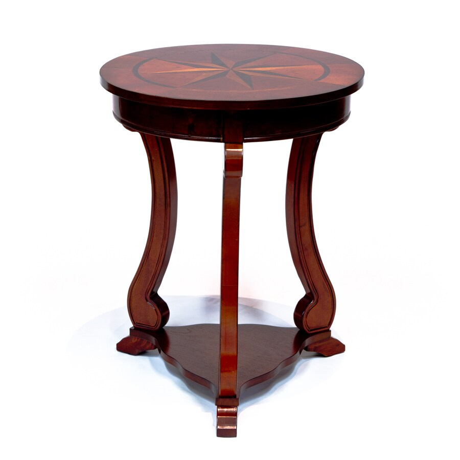 all things cedar cherry wood veneer round end table in the end tables department at lowes com