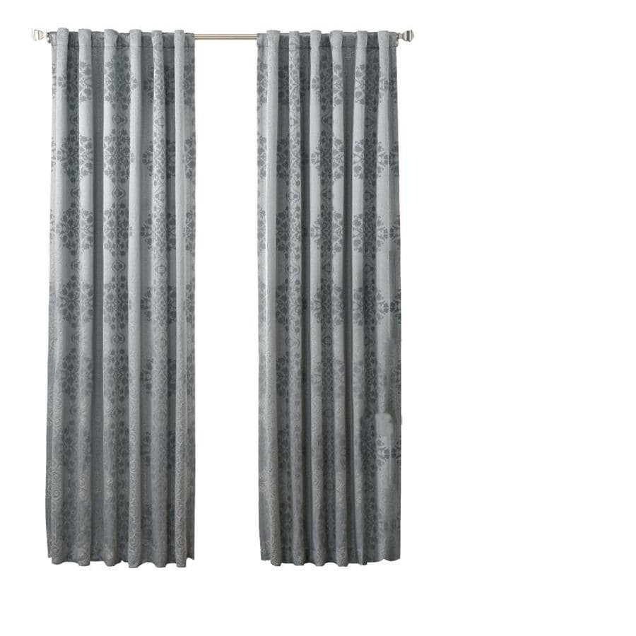 Beautyrest Avignon 84 In Smokey Blue Polyester Blackout Thermal Lined Single Curtain Panel In The Curtains Drapes Department At Lowes Com