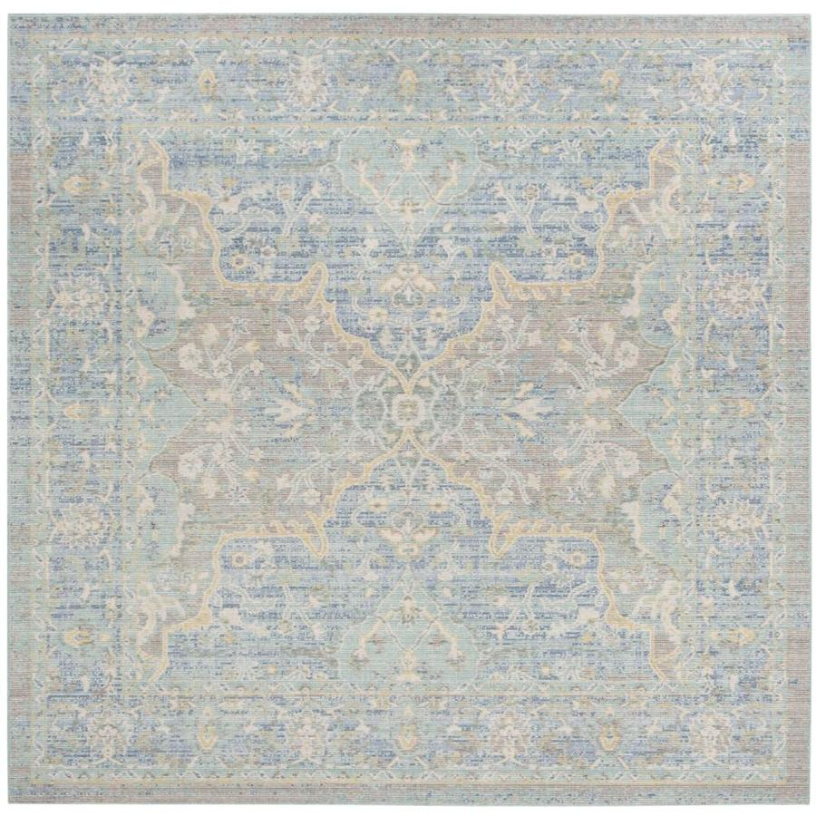 safavieh windsor leta 6 ft x 6 ft square seafoam blue 6 x 6 seafoam blue square indoor distressed overdyed vintage area rug in the rugs department at lowes com