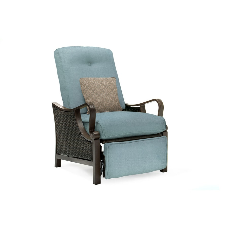 Shop Hanover Outdoor Furniture Ventura Wicker Recliner Chair with     Hanover Outdoor Furniture Ventura Wicker Recliner Chair with Ocean Blue  Cushion