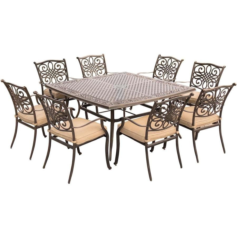 hanover outdoor furniture traditions 9 piece bronze frame patio set with natural oat hanover cushion s included