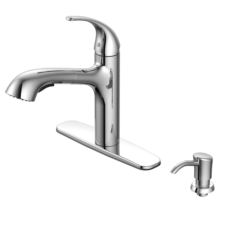 aquasource chrome 1 handle deck mount pull out handle kitchen faucet deck plate included