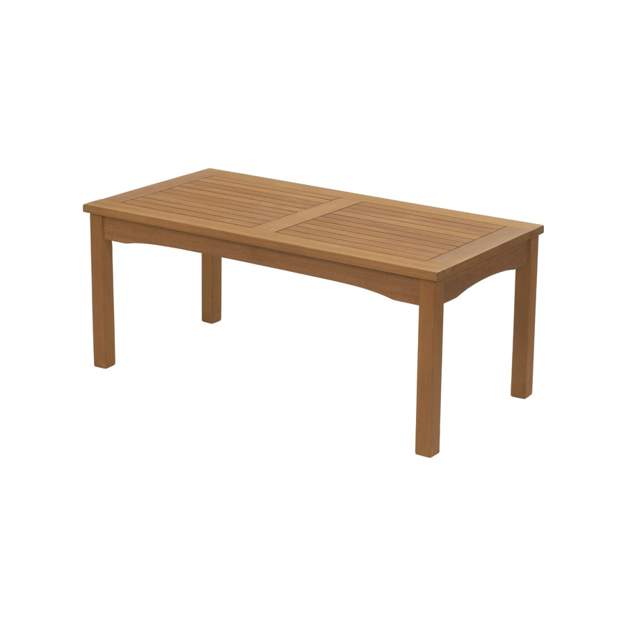 arboria wood rectangle patio coffee table at lowes com