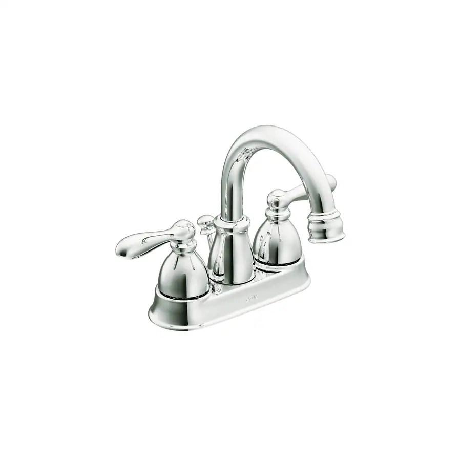 moen caldwell chrome 2 handle 4 in centerset watersense bathroom faucet drain included
