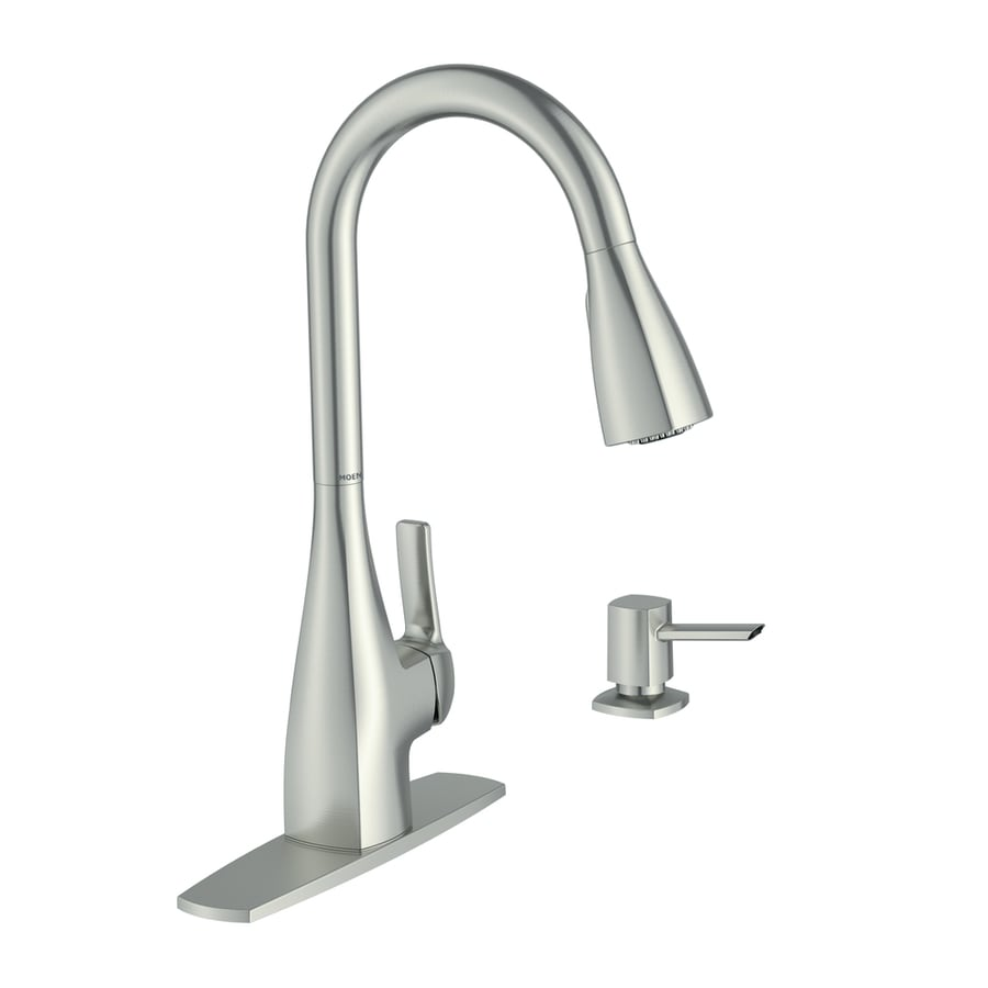 moen kiran spot resist stainless 1 handle pull down handle kitchen faucet deck plate included lowes com