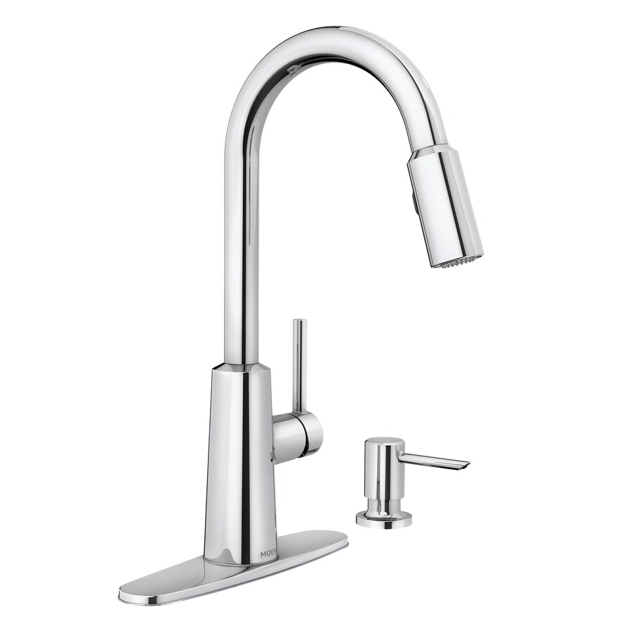 moen nori chrome 1 handle deck mount pull down handle kitchen faucet deck plate included