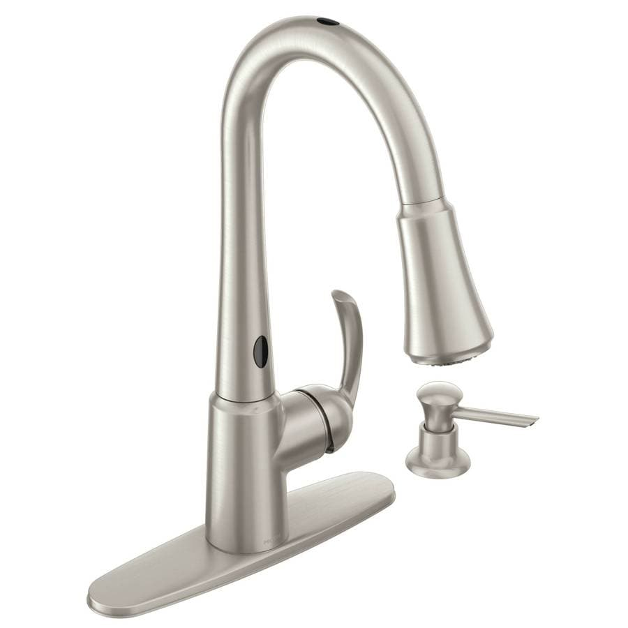 moen delaney spot resist stainless 1 handle deck mount pull down touchless kitchen faucet deck plate included