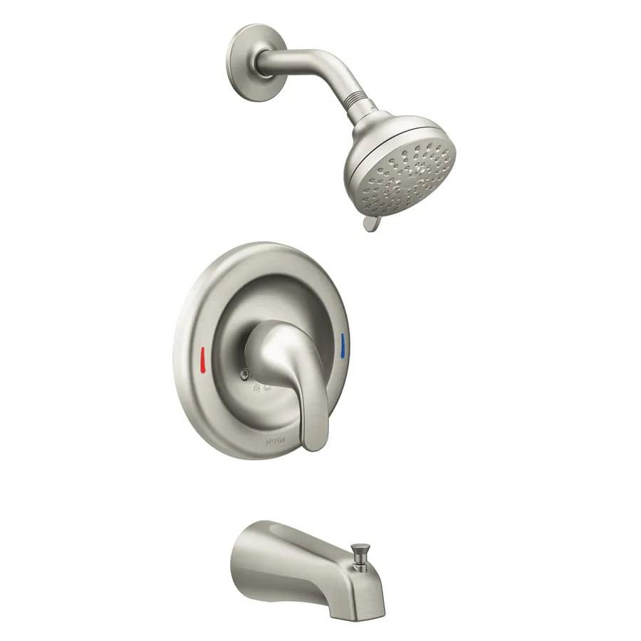 moen adler spot resist brushed nickel 1 handle bathtub and shower faucet with valve