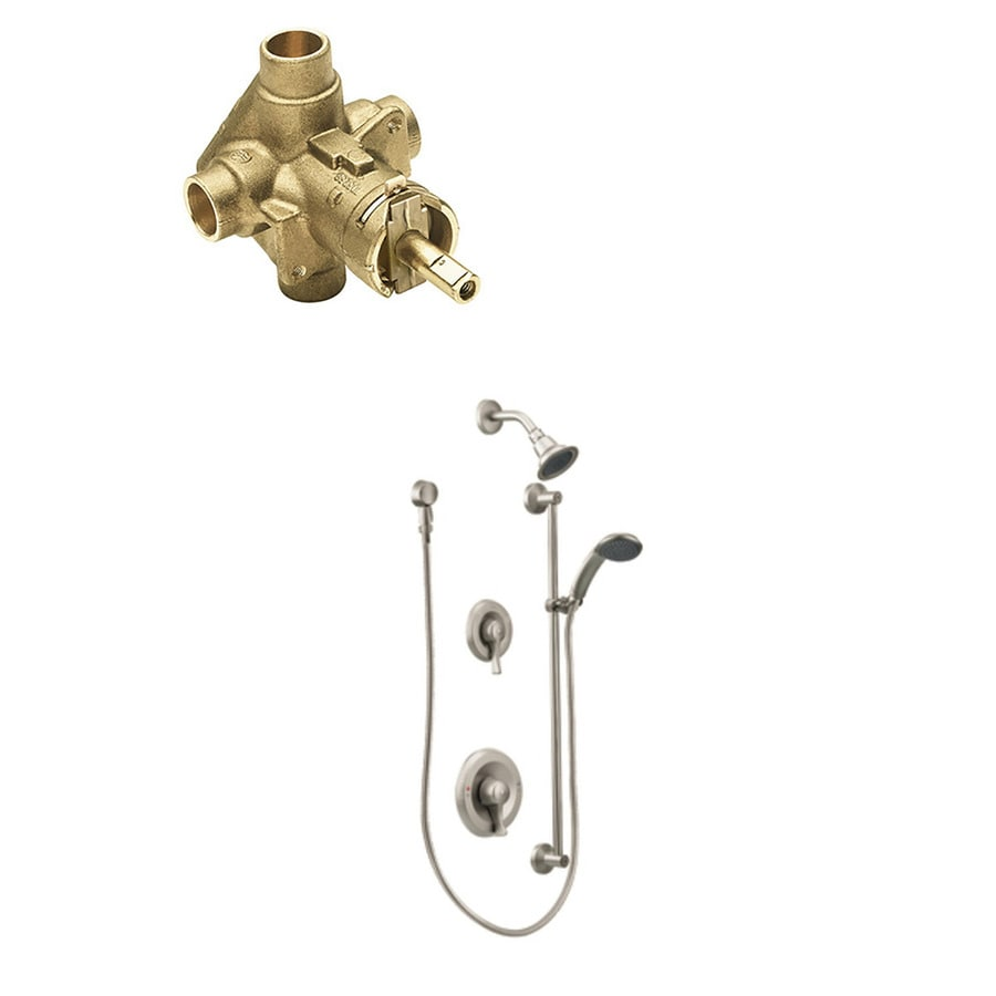 moen commercial brushed nickel 2 handle shower faucet with valve in the shower faucets department at lowes com