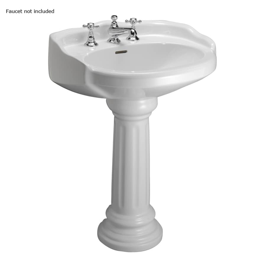 barclay victoria 36 5 in h white vitreous china pedestal sink lowes com